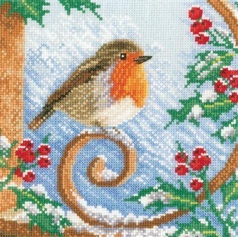 proud robin cross stitch kit  lanarte