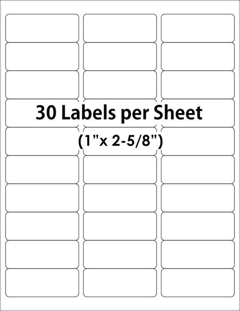 Avery 30 Up Label Template Word