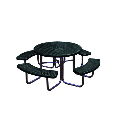 shop ultra play 46 in black steel round picnic table at