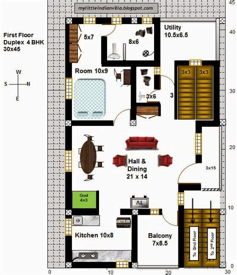 home design 30 x 45 east facing house plans for 30x40 site