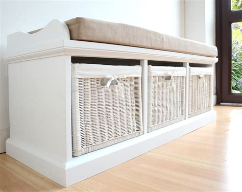 storage bench with cushion and baskets tetbury white storage bench with cushion assembled large