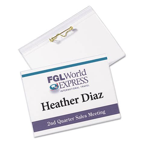 Pin Style Name Badge Holders W Inserts Top Load 3 X 4 White 100 Box Thegreenoffice Com Staples Id Badge Kit Template