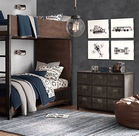 boys bedroom locker industrial locker twin over twin storage bunk bed rh