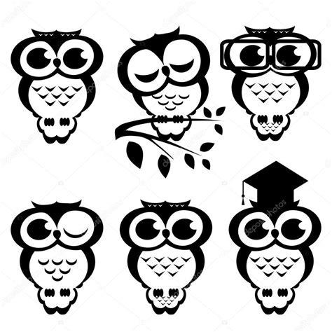 Imagenes En Blanco Y Negro De Buhos | conjunto de vector de buhos dibujos animados archivo