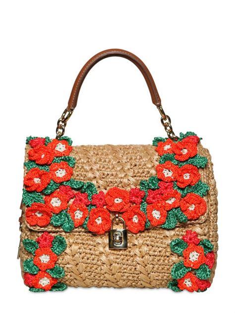 dolce gabbana crochet raffia dolce bag top handle in