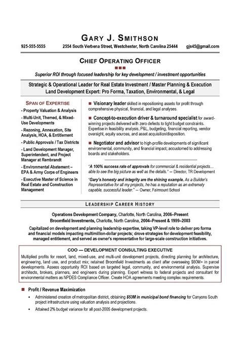 coo resume templates coo sle resume award winning executive resume writing
