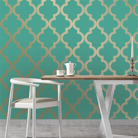 gold temporary wallpaper moroccan trellis global bazaar jade gold removable wallpaper
