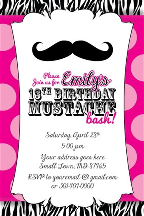 13th birthday invitations templates free details about mustache bash zebra print invitation 13th