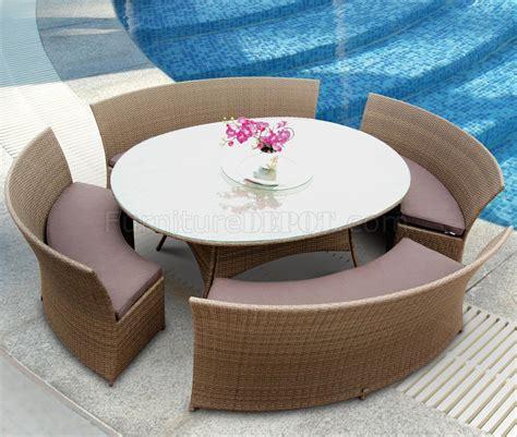 moderne speisesaal tisch sets light brown modern 5pc outdoor dining set w oval