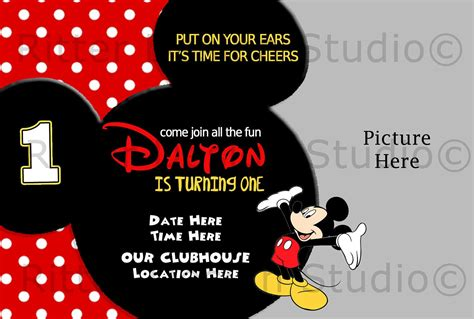 free blank mickey mouse 1st invitation chevron template drevio