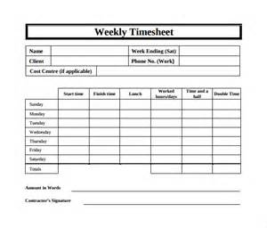 Weekly Timesheet Template Excel Free by Weekly Timesheet Template 9 Free In Pdf