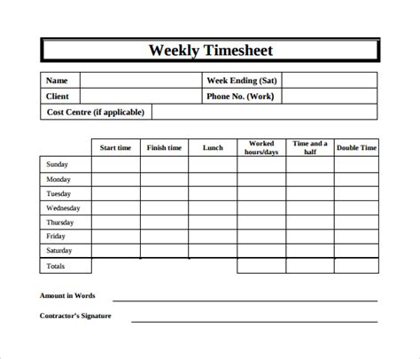 15 Sle Weekly Timesheet Templates For Free Download Sle Templates Timesheet For Contractors Template Free Excel