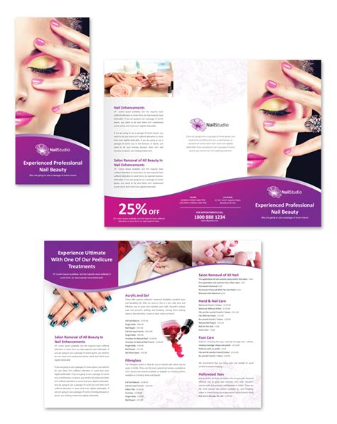salon brochure templates nail salon tri fold brochure template dlayouts