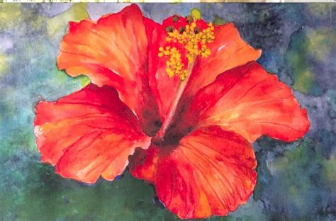 easy watercolor paintings flowers easy step by step tutorial how to paint hibiscus flower