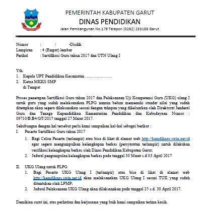 format surat pernyataan belum sertifikasi contoh format surat sertifikasi guru 2017 kabupaten garut