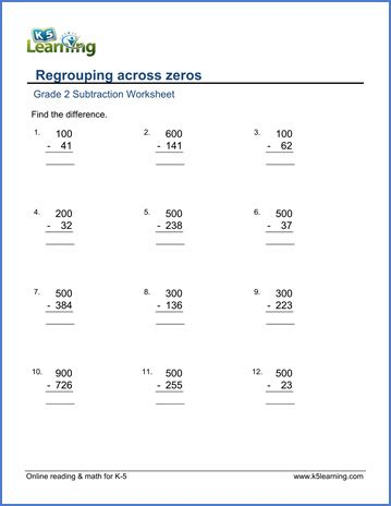 substraction across zeros worksheet grade 2 math worksheet subtract from whole hundreds by
