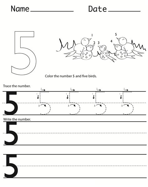 printable worksheets numbers 1 5 number 5 worksheets for children activity shelter