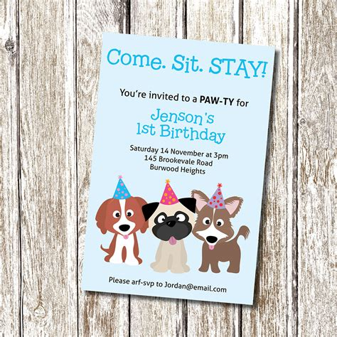 puppy birthday invitations puppy invitation come sit stay printable and