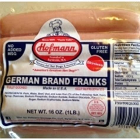 hofmann dogs hofmann german brand franks dogs calories nutrition analysis more fooducate