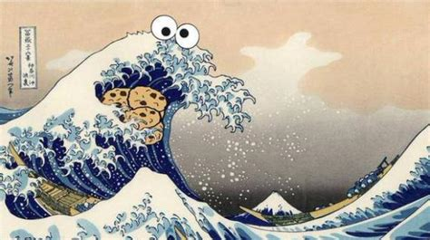 me want great wave cookie monster takes his cookies to
