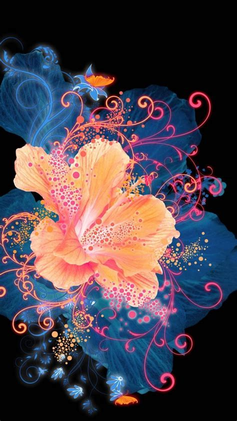 HD Abstract Flower Neon Painting Android Wallpaper free