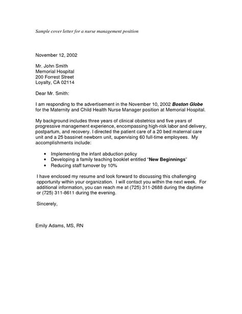 Cover Letter For Promotion To Management Position sle nursing application cover letters sle cover