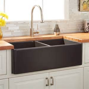 double sinks for kitchens 33 quot reinhard double bowl fireclay farmhouse sink dark