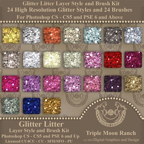 glitter litter layer style and brush kit for photoshop and