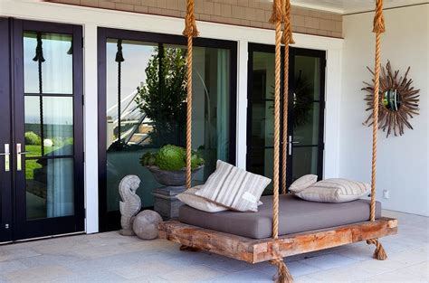 swinging bed covered patio with swing bed transitional deck patio