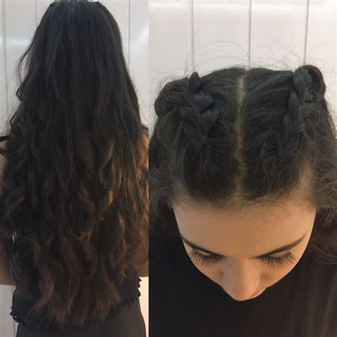 braids abd then hanging down prom hair two french braids only done half way and then