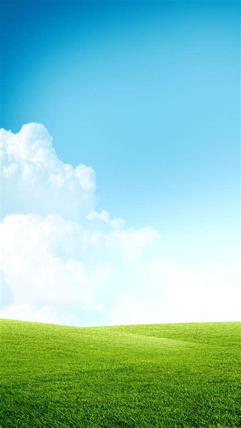 grass field blue sky clouds iphone   hd wallpaper