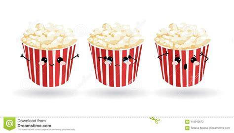 cartoon funny popcorn hand drawn set  emoji vector