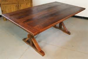crafted rustic farm table with x base by