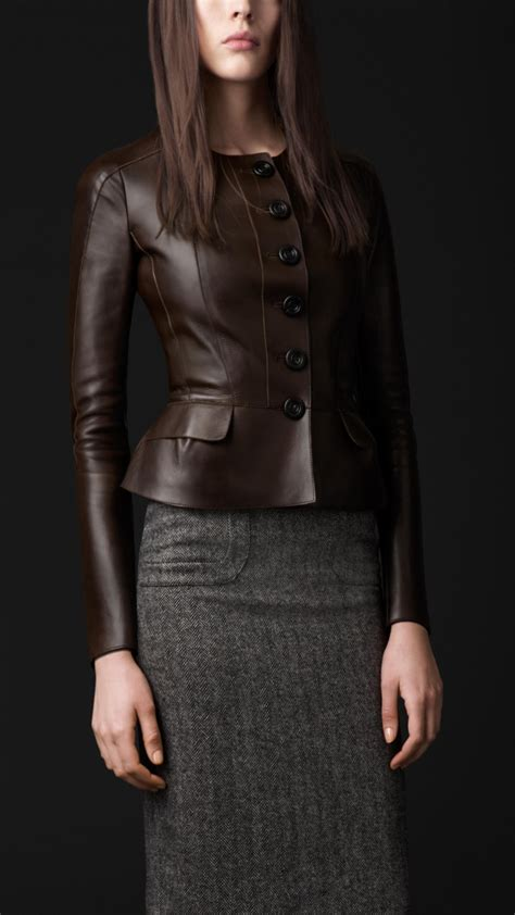 Burberry Style Leather burberry prorsum peplum detail leather jacket in brown