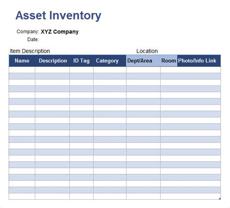 business asset list template customizable asset inventory template sles vlashed
