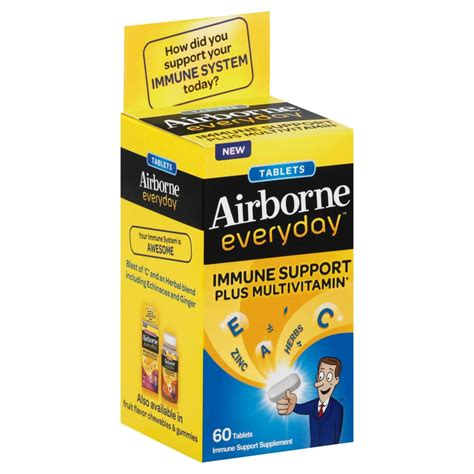 Vitamin Airborne airborne everyday vitamin c immune support supplement and multivitamin tablets 60