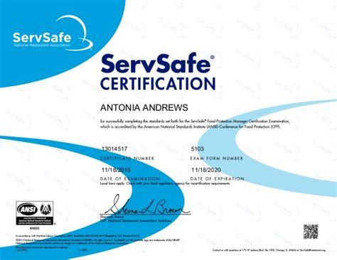 Servsafe Certificate Template servsafe certification