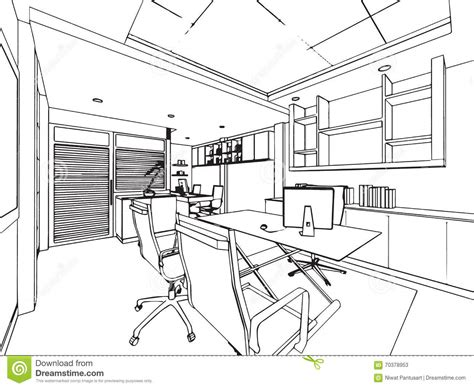 dessin bureau outline sketch drawing perspective of a space office stock