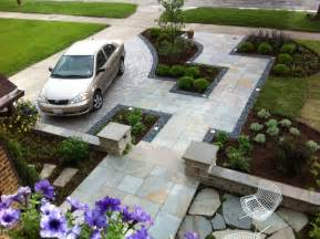 Backyard Driveway Ideas Front Yard Driveway And Walkway Landscaping House Design With Floor Tiles And Low