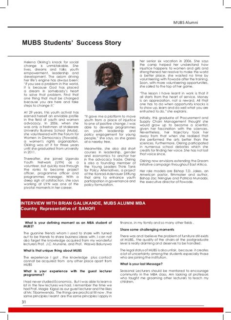 Mba Mubs by May 2016 Mubs Alumni Newsletter