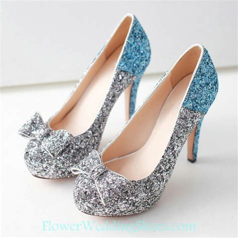 free shipping high heel sequin silver with blue prom shoes