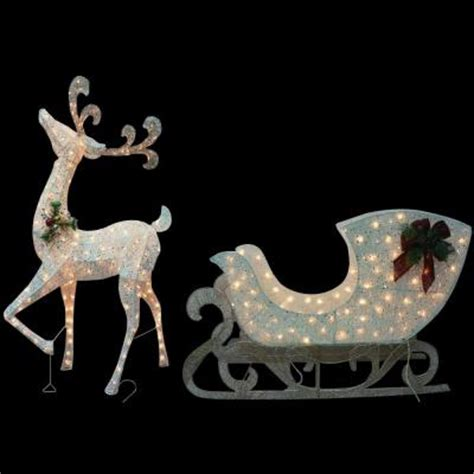 home accents 5 ft pre lit white reindeer with sleigh ty311 310 1411 the home depot