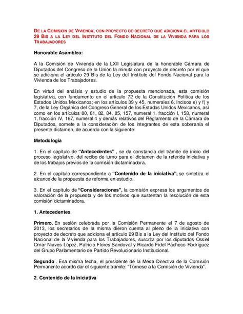 ley de infonavit decreto que adiciona el art 237 culo 29 bis a la ley del