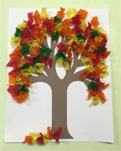Fall Paper Crafts - fall tissue paper tree