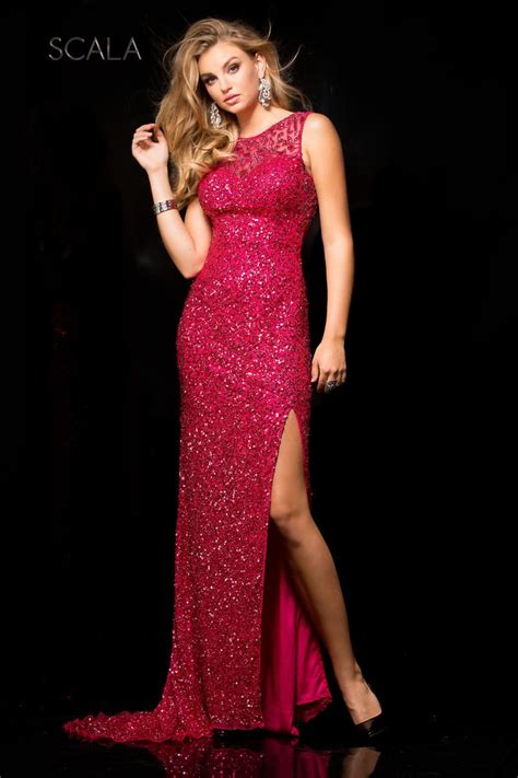 Mm Slkalla Dress scala 48694 beaded gown with high slit novelty