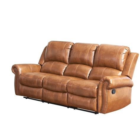 brown reclining sofa abbyson living winston leather reclining sofa in brown
