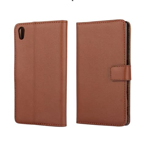 Wallet Leather Sony Z5 by Sony Xperia Z5 Leather Wallet Brown