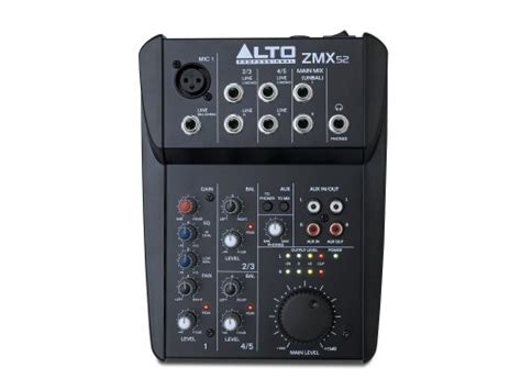 Alto Mixer Live Zmx52 alto professional zmx52 5 channel 2 mixer with 6