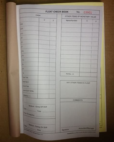 till float template float check book