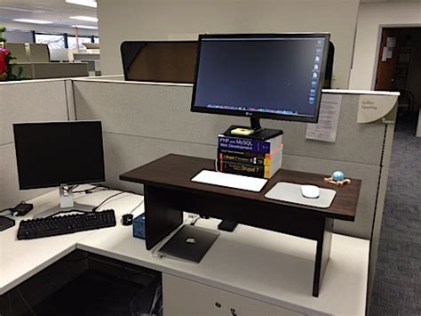 Make A Standing Desk by Build A Wood Standing Desk For Your Cubicle Jeff Geerling